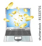 Conceptual illustration. Money in form of gold coins flying out of laptop computer. - stock vector