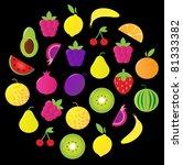 fresh tasty stylized fruit... | Shutterstock .eps vector #81333382