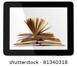 book and generic teblet... | Shutterstock . vector #81340318