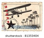 Air Mail Stamp With Plane And...