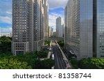 View of Metropolitan Government buildings in Shinjuku, Tokyo, Japan. - stock photo