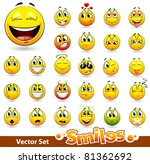 Vector set of cute smile-balls. All elements are grouped. - stock vector