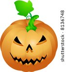 Halloween pumpkin . an illustration of a halloween pumpkin with a face sculpted in it - stock photo