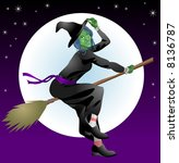 Halloween witch. An illustration of a scary Halloween with riding her broomstick - stock photo