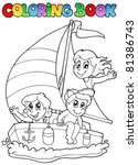 coloring book with yacht and... | Shutterstock .eps vector #81386743