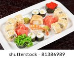 view of closeup japanese sushi set at plate - stock photo
