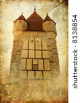 mystic gothic tower - picture in retro style - stock photo