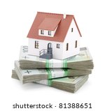 House on stack of polish zlotys - stock photo