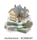 Yellow house on stack of polish zlotys - stock photo