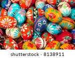 Background of various painted easter eggs - stock photo