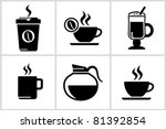 vector black coffee icons set....