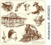 wild west   hand drawn... | Shutterstock .eps vector #81401821