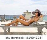 side view of woman sunbathing... | Shutterstock . vector #81404125