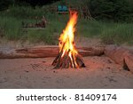 inviting campfire on the beach... | Shutterstock . vector #81409174