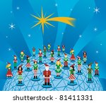 Social media network connection world concept at Christmas time. - stock vector