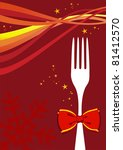 Cutlery menu design background for Christmas season. Fork with a bow and multicolored waves over red design. - stock photo