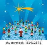 Social media network connection world concept at Christmas time. - stock photo