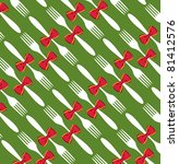 Seamless Christmas fork and bow pattern over green background. - stock photo