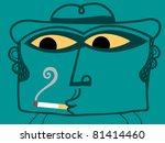 smoker man - stock vector