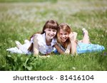 two girls spending time... | Shutterstock . vector #81416104