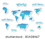 set of continent icons   Shutterstock .eps vector #81428467