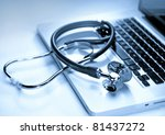 medical stethoscope on a laptop ... | Shutterstock . vector #81437272