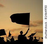 silhouette of street protestors ... | Shutterstock . vector #81464950