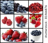 Collage of berry fruit images.  Includes blueberries, strawberries, blackberries, raspberries, and cranberries. - stock photo