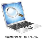 Magnifying glass search icon coming out of laptop screen concept - stock vector