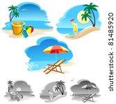 relaxing summer on beach   Shutterstock .eps vector #81485920