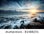 Sunset At Sea. Storm. Seascape.