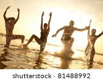 group of happy young people... | Shutterstock . vector #81488992