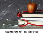 A still-life consisting of a medical profession theme. - stock photo
