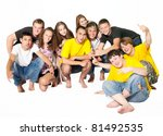 happy group of young people.... | Shutterstock . vector #81492535