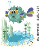bubble fish cartoon. | Shutterstock . vector #81514189