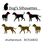 set of dog's silhouettes vector | Shutterstock .eps vector #81516832