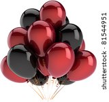 Party Balloons Black Red Happy...