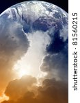 Planet Earth in space, sky with clouds and bright sun - stock photo