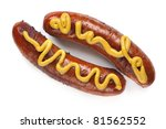 Two grilled hot dogs with mustard, isolated on white. - stock photo