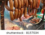 smoked of meat sausage and... | Shutterstock . vector #8157034