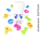 3D Illustration of a Kid Surrounded by Letters and Numbers - stock photo