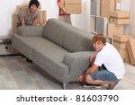 men lifting sofa | Shutterstock . vector #81603790
