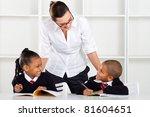 elementary teacher talking to... | Shutterstock . vector #81604651