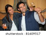 smiling man and woman tasting...   Shutterstock . vector #81609517