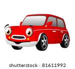 red funny cartoon car | Shutterstock .eps vector #81611992