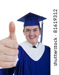 Young adult graduate with thumbs up on a white background - stock photo