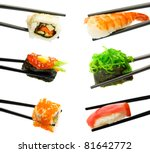 sushi with chopsticks isolated... | Shutterstock . vector #81642772