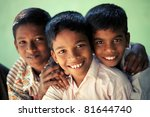 group of teen boys looking at... | Shutterstock . vector #81644740
