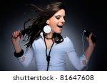 Beautiful Girl Listening Music...
