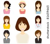 women set. illustration vector.